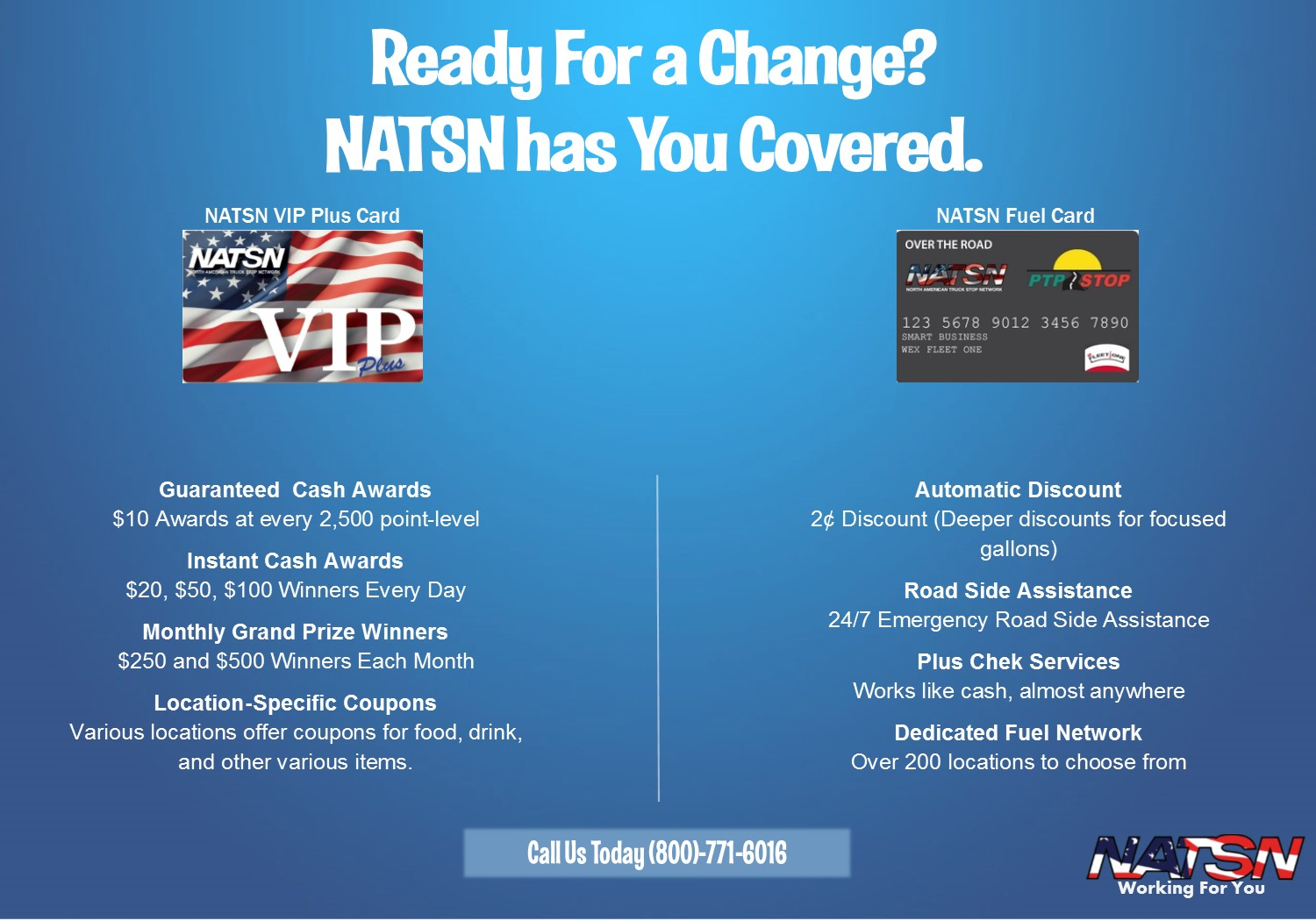 Fuel Card, Truck Driver, The Best Fuel Card, The Best Driver Loyalty Card, NATSN VIP Plus, Truck Stop, Discounts, NATSN, Fleet Card, Independent Truck Stop, Dedicated Network, Cash Prizes,